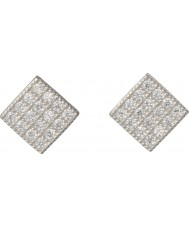 FROST by NOA 345028 Ladies Silver Diamond-Shaped Earrings With Cubic Zirconia