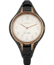 Fiorelli FO006BRG Ladies Rose Gold Plated Black Leather Cuff Watch