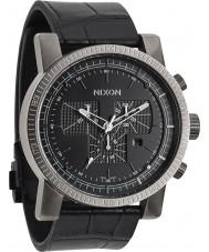 Nixon A458-1886 Mens Magnacon Leather II Black Gator Watch