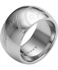 DKNY NJ1685040-508 Ladies Logo Silver Tone Ring - Size P