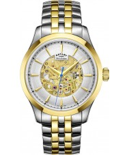 Rotary GB05033-06 Mens Champagne Two Tone Gold Plated Skeleton Mechanical Watch