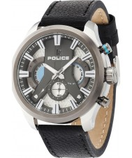 Police 14639JSTU-04 Mens Cyclone Black Leather Strap Watch