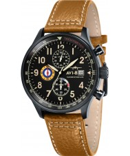 AVI-8 AV-4011-06 Mens Hawker Hurricane Mustard Leather Strap Chronograph Watch