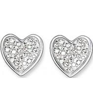 Thomas Sabo H1863-051-14 Ladies Zirconia Pave Heart Silver Stud Earrings
