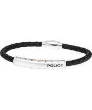 Police 25571BLRG-02-L Mens Fury Black Leather Bracelet - Size L