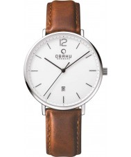Obaku V181GDCWRN Mens Light Brown Calf Leather Strap Watch