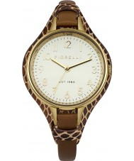 Fiorelli FO006TG Ladies Gold Plated Brown Leather Cuff Watch
