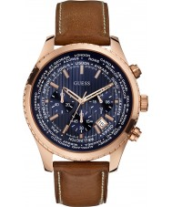 Guess W0500G1 Mens Pursuit Brown Leather Chronograph Watch