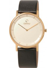 Obaku V143GXGWRB Mens Gold Plated Black Leather Strap Watch