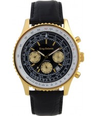 Krug Baümen 600206KM Mens Air Traveller Black Leather Strap Watch