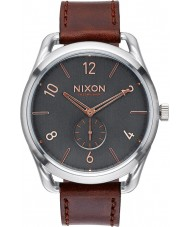 Nixon A465-2064 Mens C45 Gray Rose Gold Horween Leather Watch