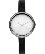 Fiorelli FO007BS Ladies Silver Black Skinny Leather Strap Watch