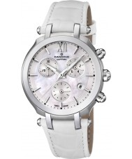 Candino C4521-1 Ladies Chronograph All White Leather Strap Watch