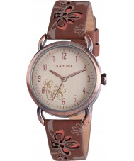 Kahuna KLS-0250L Ladies Brown Beige Floral Watch