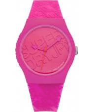 Superdry SYL169P Urban Pink Silicone Strap Watch with Printed Logo in Bright Pink