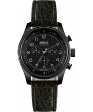 Watches Barbour Mens Byker Black Leather Chronograph Watch