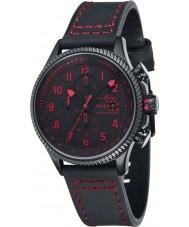 AVI-8 AV-4036-03 Mens Hawker Hunter Black Chronograph Watch with Extra Red Nylon Strap