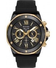 Bulova 98B278 Mens Marine Star Gold Black Rubber Strap Watch