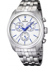Festina F16778-2 Mens Silver Steel Bracelet Chronograph Watch