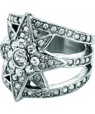 Dyrberg Kern 336289 Ladies Staray III Silver Tone Crystal Ring