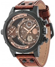 Police 14536JSB-12A Mens Adder Brown Leather Strap Watch