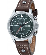 AVI-8 AV-4013-03 Mens Hawker Hurricane Brown Leather Strap Chronograph Watch