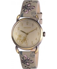 Kahuna KLS-0252L Ladies Grey Beige Floral Watch