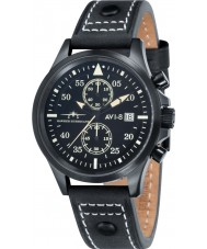 AVI-8 AV-4013-04 Mens Hawker Hurricane Black Leather Strap Chronograph Watch