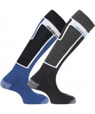 Salomon 355960-BLABLU-S Elios Black and Blue Socks 2 Pack - Size S (UK 3.5-5)