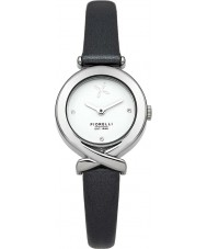 Fiorelli FO009BS Ladies Silver Black Leather Strap Watch