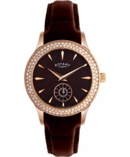 Rotary LS02907-16 Ladies Timepieces Crystals Brown Dial And Leather Strap Watch