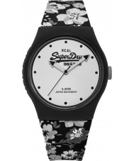 Superdry SYL177B Urban Floral Black with Grey Floral Print Silicone Strap Watch