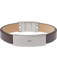 Emporio Armani EGS1881040 Mens Signature Brown Leather Bracelet