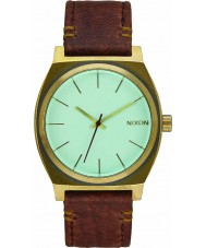 Nixon A045-2223 Mens Time Teller Brass Green Crystal Brown Watch