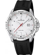 Candino C4497-1 Mens Silver and Black Rubber Strap Watch