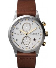 Triwa LCST106-CL010212 Ivory Lansen Brown Leather Strap Chrono Watch