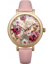 Oasis B1543 Ladies Pink Leather Strap Watch