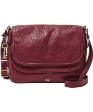 Fossil ZB6921609 Ladies Peyton Wine Large Double Flap Bag