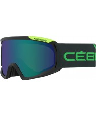 Cebe CBG97 Fanatic L Black and Green - Brown Flash Blue Ski Goggles