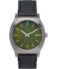 Nixon A045-2070 Mens Time Teller Gunmetal Green Oxyde Black Tapered Strap Watch