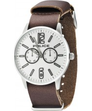 Police 14766JS-04 Mens Esquire X Dark Brown Leather Strap Watch