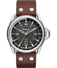 Diesel DZ1716 Mens Roll Cage Dark Brown Leather Strap Watch