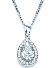 Purity 925 PUR1511P Ladies Pear Sterling Silver Necklace With CZ