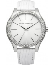 French Connection FC1205W Ladies Silver and White Leather Strap Watch