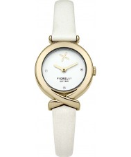 Fiorelli FO009WG Ladies Gold Plated White Leather Strap Watch