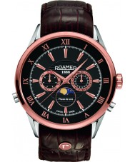 Roamer 508821-49-53-05 Mens Superior Moonphase Brown Leather Strap Watch