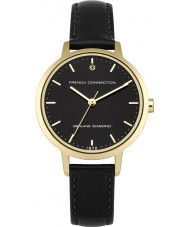 French Connection FC1279BG Ladies Black Leather Strap Watch