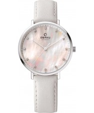 Obaku V186LXCPRW Ladies White Calf Leather Strap Watch