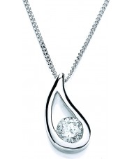 Purity 925 PUR1722P Ladies Open Pear Sterling Silver Necklace With CZ