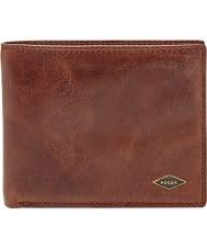 Fossil ML3729201 Mens Ryan Dark Brown Bifold RFID Wallet with Flip ID
